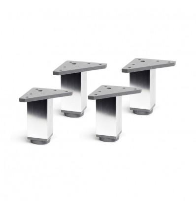 Juego de 4 patas regulables de aluminio cuadradas