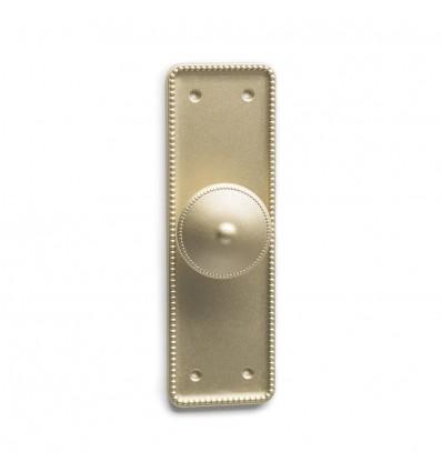 Pomo en placa metálico de estilo clásico con acabado oro mate líquido
